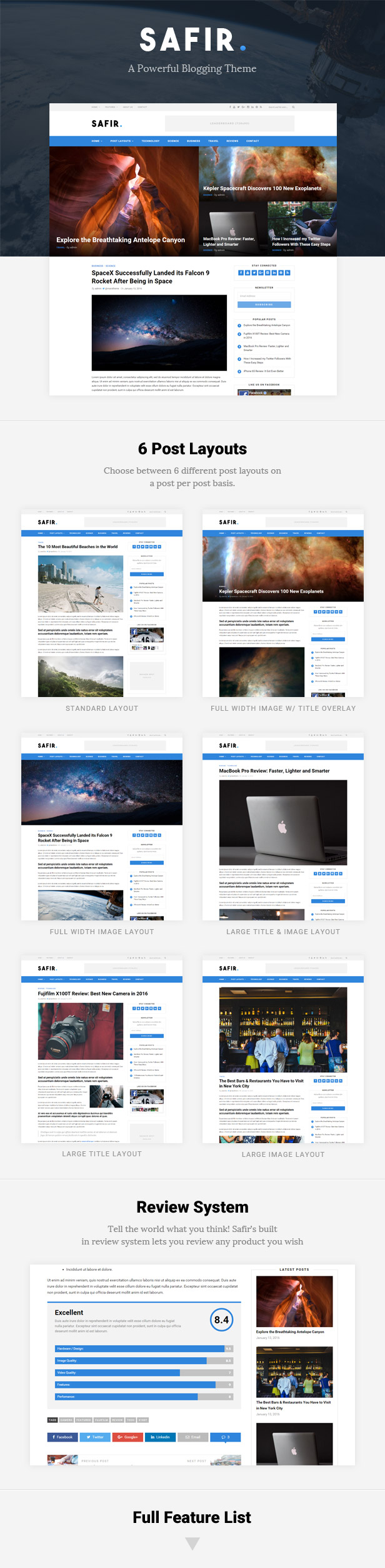 Safir - A WordPress Blog Theme